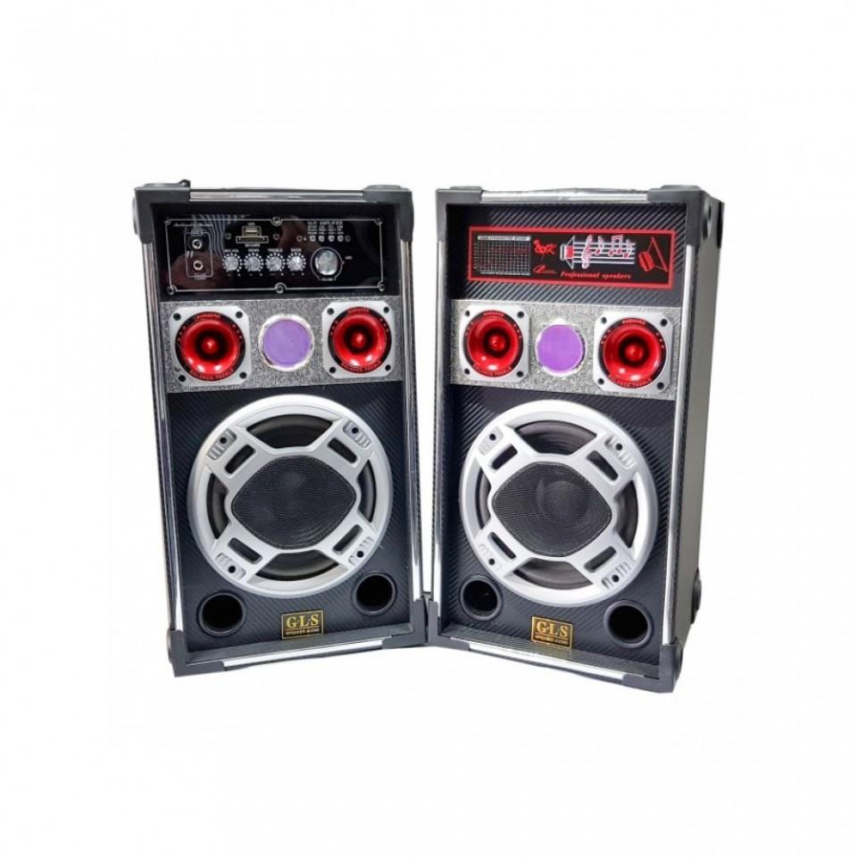 """Karaoke szett, 2db komplett erősítős aktív hangfalal- 50W 8"""" teljesítményel"""