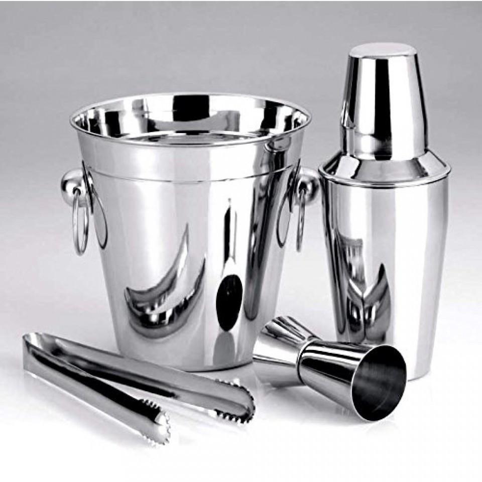 Rozsdamentes acél jégtartó vödör és koktél keverő készleteted (4 darabos)