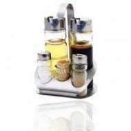 6 elemből álló só- és olajtartó
